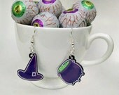 Cute Witch Accoutrements acrylic charm earrings