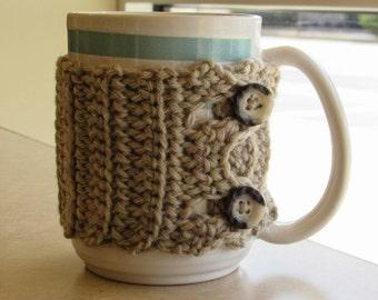 Crochet button mug cozy cup cozy wrap in buscuit
