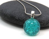 Light Turquoise Blue Glass Necklace - Simple Pendant Necklace - Blue Pendant  - Dichroic Glass Jewelry