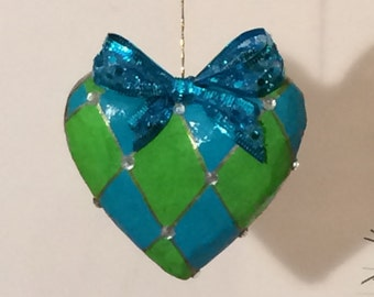 Ornament Hand-painted harlequin turquoise lime green crystals  whimsical Alice in wonderland