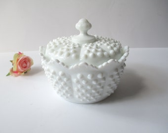 Vintage Fenton Milk Glass Hobnail Margarine Tub