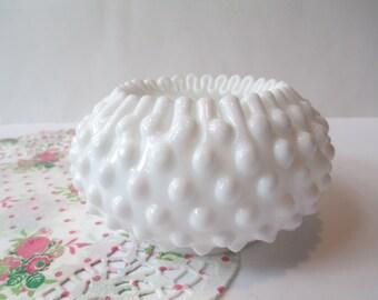 Vintage Fenton Milk Glass Hobnail Violet Vase