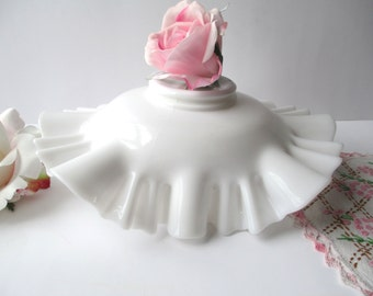 Vintage Ruffled Milk Glass Bowl, Wedding Decor, Minimalist, Cottage Chic
