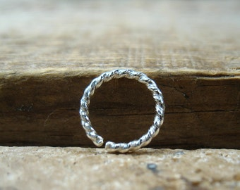 Septum Ring Sterling Silver Dotted Twist - Septum Ring, Nipple Ring, Twist Nipple Ring, Twist Septum Ring, Silver Nipple Ring, 14 Gauge