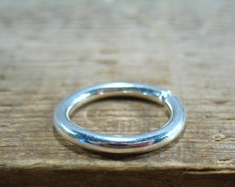 Gauged Hoop Earring Silver Endless SINGLE - 12 Gauge Earring, Silver Earring, Mens Earring, Thick Gauge Earring, Stretcher Earring