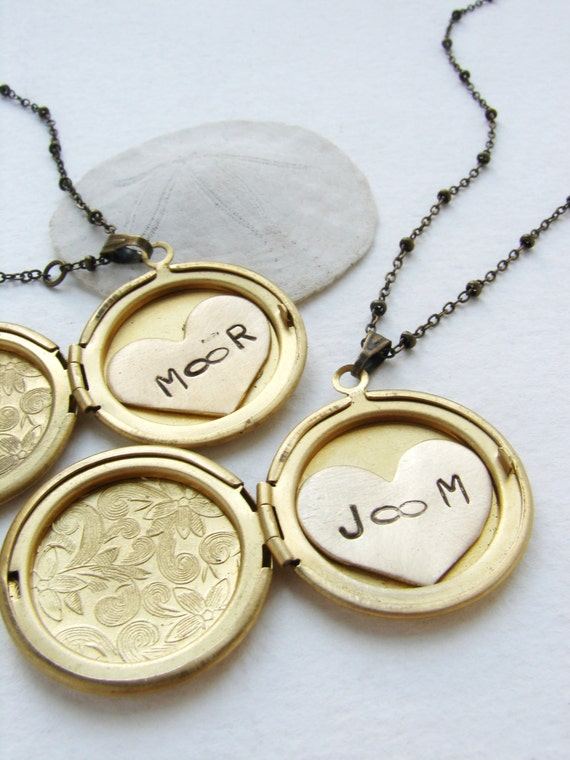 Infinity necklace, Personalized women's necklace, gift for girlfriend, date and two initials locket, heart jewelry Couple initials locket