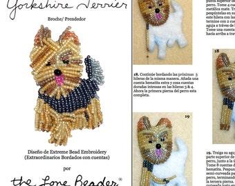 PDF en español: YORKIE Tutorial de bordado con cuentas del prendedor o pendiente de perro - Yorkshire Terrier (Exclusivo para uso personal)