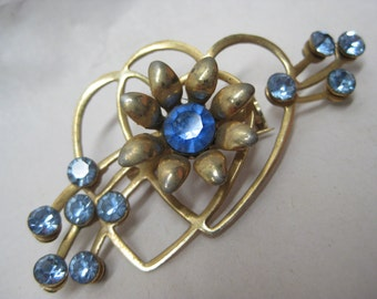 Blue Heart Flower Brooch Gold Rhinestone Vintage Pin