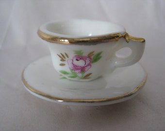 Rose White Cup Saucer Miniature Ceramic Vintage Flower Pink