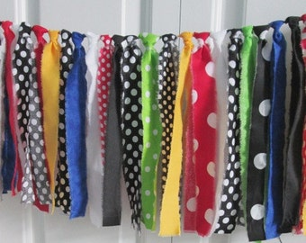 Rag Tie Garland ~Mickey Mouse Clubhouse ~Photography Prop Backdrop Sale ~Birthday Banner ~Fabric Bunting ~Highchair banner ~Rainbow Garland
