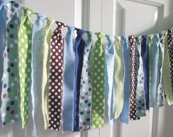 Blue Green Brown Baby Boy Rag Tie Banner Photo Prop Cake Smash Baby Shower Birthday Banner Nursery Rag Tie Garland 1st Birthday Newborn