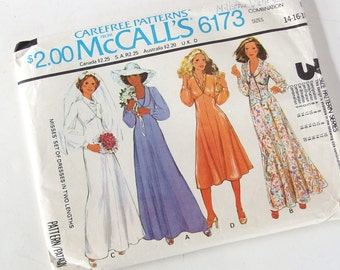 Vintage 1970's Bridal Gown and Bridesmaids Sewing Pattern, McCalls 6173,  Bust 38 - 42 Inches
