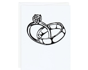 Linked Wedding Rings -- Handprinted White Card