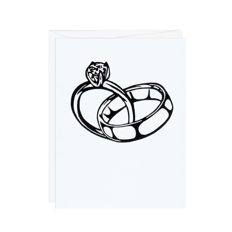linked wedding rings handprinted white card