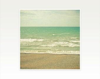 Beach Photography, Nature Photograph, Landscape, Ocean Art, Nautical Decor, Aqua, Beige - The Sea, the Sea