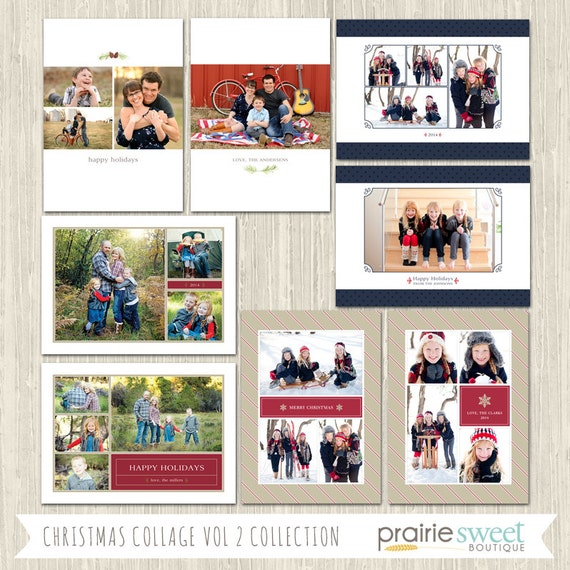 items similar to christmas collage vol 2 holiday photo card collection photoshop templates. Black Bedroom Furniture Sets. Home Design Ideas