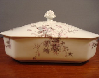 Beautiful Limoges covered serving dish with lid and floral transferware design