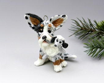 Cardigan Welsh Corgi Christmas Ornament Figurine Sheep Porcelain