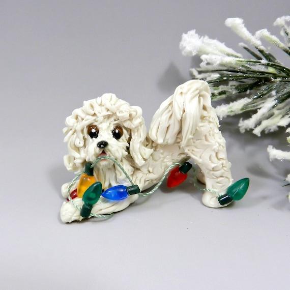 MaltiPoo Cream Christmas Ornament Figurine by TheMagicSleigh