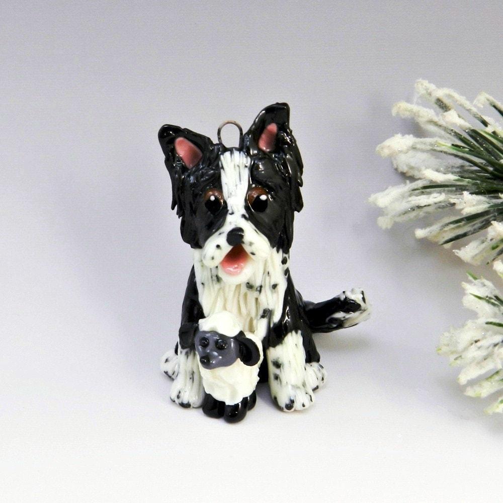 Shepherd Gold On Blue Silhouette Ornament: Border Collie Christmas Ornament Figurine Sheep Porcelain
