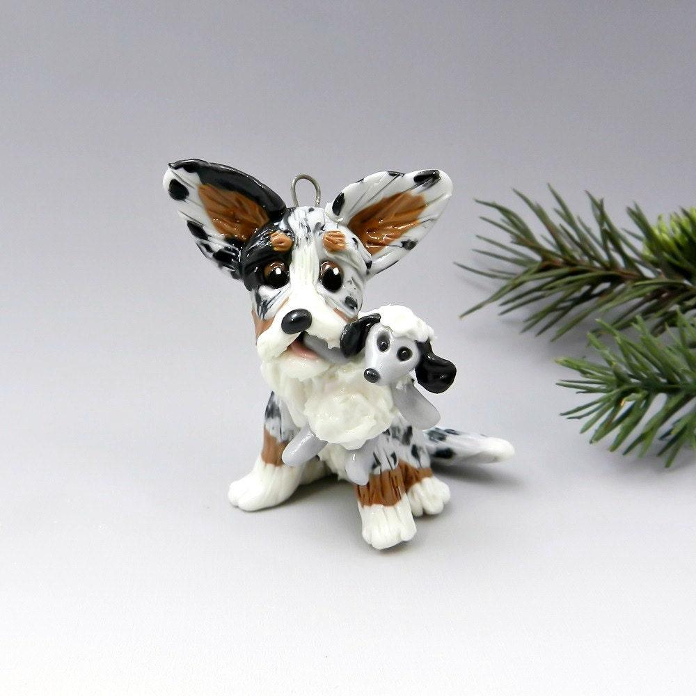 Shepherd Gold On Blue Silhouette Ornament: Cardigan Welsh Corgi Christmas Ornament Figurine Sheep