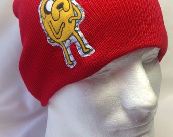 Adventure Time Standing Jake The Dog Red Beanie Hat - made from upcycled Cartoon Network fabric
