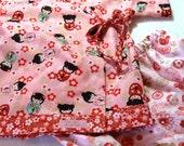 Baby Kimono Top and bloomer set in Sakura Dolls  -  6-12 mths ready to ship