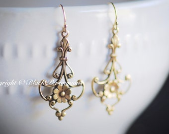 NEW - Jolie Earrings - American Made Antique Gold Plated Brass - Gold Filled Ear Wires - Free Domestic Shipping