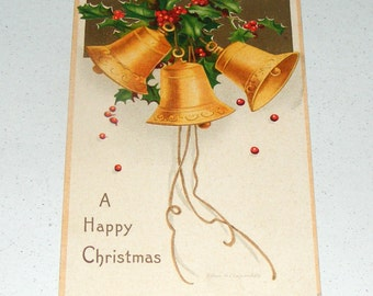Antique Embossed Unmailed Postcard Holly and Jingle Bells Happy Christmas Ellen H Clapsaddle Germany