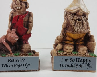 Vintage 2 whimsical Bill Vernon shade tree creations figurine retire? when pigs fly i'm so happy