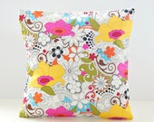 retro style flower cushion cover, yellow pink green white floral decorative pillow cover 16 / 18 inch