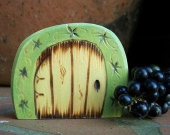 Green Fairy Door Fridge Magnet, Miniature Door 2 1/2 inch with Flower Filigree