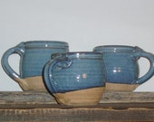 Coffee mug rutile blue handmade wheel thrown 16 oz.