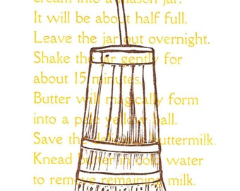 How to Churn Butter Letterpress Postcard