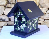 Hand Painted Wooden Blue Birdhouse with White Flowers and Butterfly