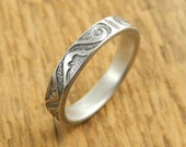 Patterned silver wedding band, sterling silver patterned ring, sterling silver wedding band with pattern.