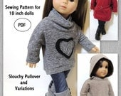 Slouchy Pullover and Variations - 18 inch doll PDF
