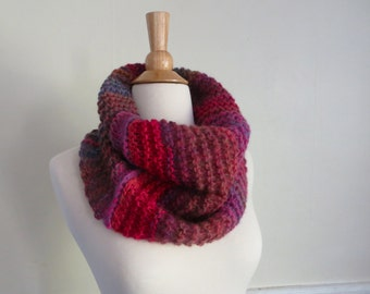 Relaxed Knit Cowl in Pink, Violet, and Orange