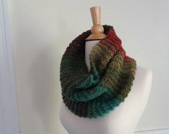 Relaxed Knit Cowl in Jewel Tone Rust, Emerald, Garnet