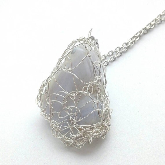 items similar to blue lace agate silver wire crochet
