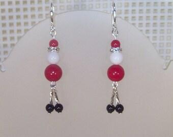 Christmas Earrings - Santa  -  Red and White Mountain Jade