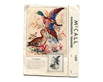 1940s Mallard Ducks Embroidery Transfer and Cross Sitch Chart McCall 1359 Rustic Cabin Decor Ducks Vintage Kaumagraph Embroidery Pattern