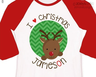 Christmas shirt red nosed reindeer personalized Christmas raglan Tshirt - perfect for the holidays
