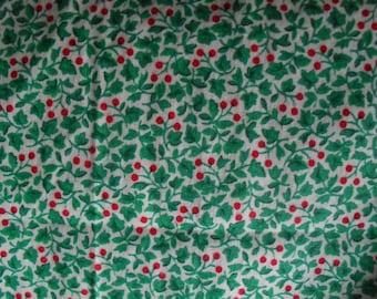 """Fabric Cotton Leaves and Berries for Sewing Crafts 37-38"""" wide 3.25 yards"""