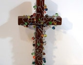 wall cross, Brown Cross with Colorful Glass Beads, bead and wire art cross
