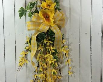 Yellow Spring Door Swag, Spring Flower Wreath, Spring Swag for Door, Spring Wreath Alternative