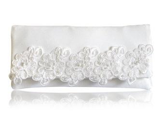 Ivory bridal satin lace trimmed Elizabeth wedding day clutch purse