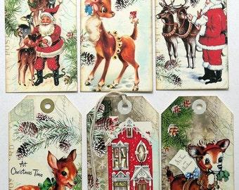 Retro Santa Claus Reindeer Mixed Christmas Tags #172