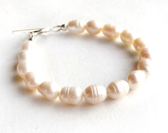 Freshwater Pearl Bracelet - Sterling Silver Toggle - Cream Ivory - Real Pearl Bracelet - Bridesmaid Gift - 925