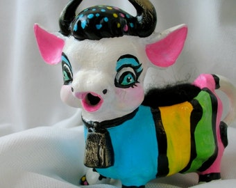 Novelty Rainbow Cow Pinchushion